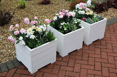 White Square Large Wooden Garden Planter Trough In Decking Plant Pot Free Lining