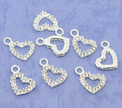 Wholesale Lots Silver Plated Rhinestone Heart Charm Pendants 19x13mm