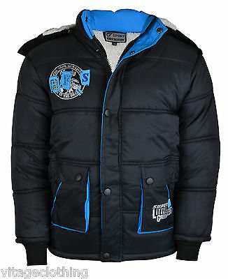 New Kids Boys Polyester Faux Fur Zip Fully Lined Winter Hooded Jacket Coat 3-13