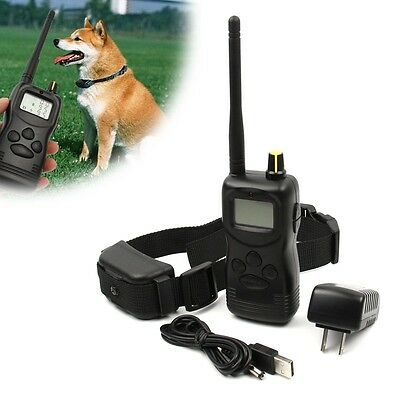 1000 Yard LCD Remote Rechargeable Waterproof Dog Shock Collar Electric Trainer