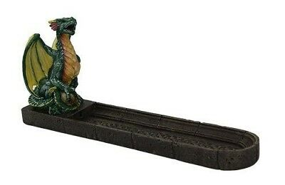 "Green Dragon Incense Burner Home Decor Figurine Statue 10"" Length"