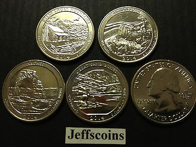 2014 S Mint All 5 National Park Quarters Smoky Shenandoah Arches - Everglade Set