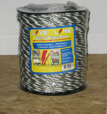Green / White Electric Fence Liveline Rope 200m