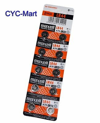 New 0% Hg Genuine Maxell  LR44 AG13 L1154 SR44 357 Battery x10pcs Free post