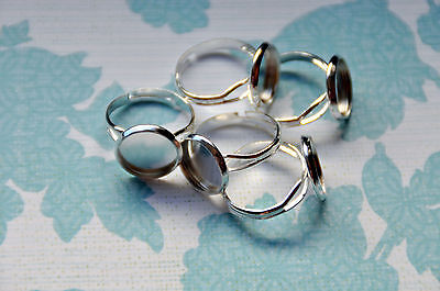 10 x silver tone adjustable ring base with 12mm cameo bezel setting