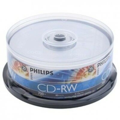 25 Philips CD-RW 4X-12X 80Min/700MB (Philips Logo on Top)