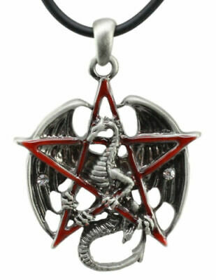 Red Pentagram Ancient Chinese Dragon Necklace Accessory Pendant Alloy Lead Free