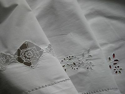 Antique French Top Of Sheet - Eyelets & Threadwork - Cotton Sheet