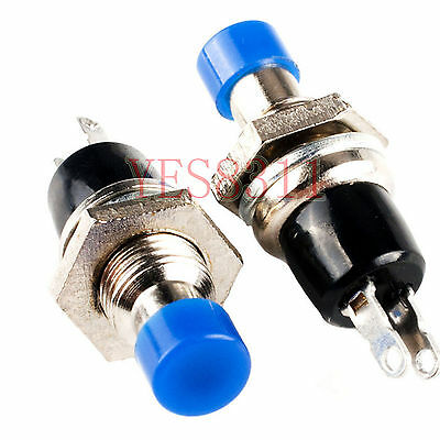 10pcs Mini Push Button SPST Momentary N/O OFF-ON Switch 10mm Blue