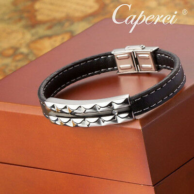 8.3'' Mens Black Leather Bracelet Bangle Wristband with Silver Stainless Steel