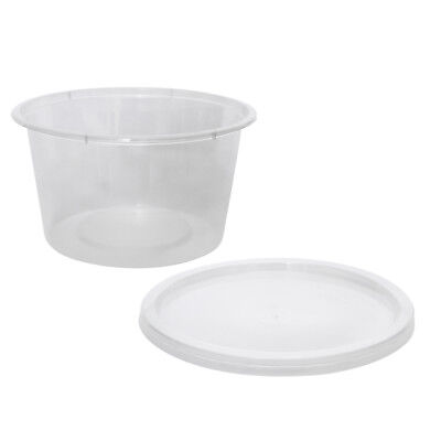50x Clear Plastic Container with Flat Lid 450mL Round Disposable Rice Dish NEW