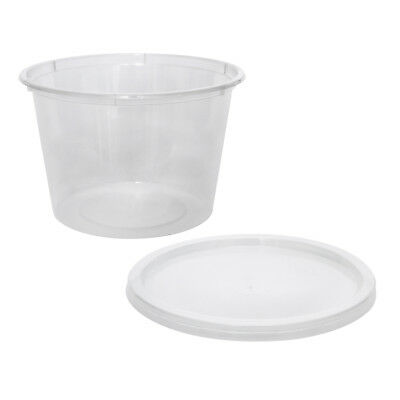 50x Clear Plastic Container with Flat Lid 520mL Round Disposable Rice Dish NEW