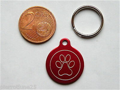 MEDAILLE GRAVEE RONDE PATTE CHATON CHAT collier medalla cane hund katze