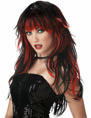 Ladies Tempting Tresses Wig Red Black Long Rock Punk Fancy Dress Accessory