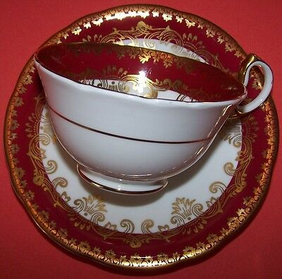 Aynsley Exquisite Ruby Red Fine Bone China Cup & Saucer