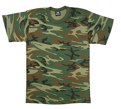 Kids Boys Woodland Forest Camo Military Army Style T-Shirt