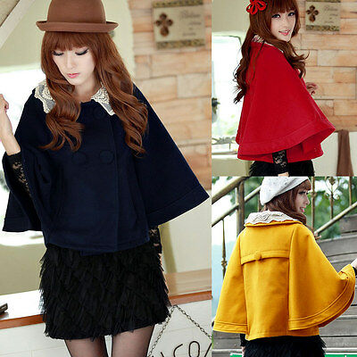 Women Cape Coat Batwing Sleeve Double Breasted Lace Collar Cloak Outerwear S-XL