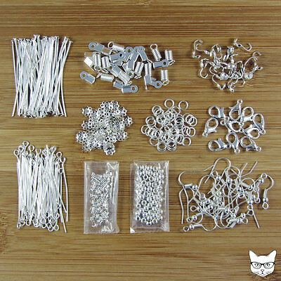 Jewellery Making Kit Silver Findings Pack - Ear Hooks Pins Bead Caps Crimps