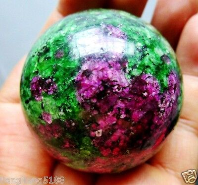 Hot Sell 50MM Natural Ruby Zoisite Sphere Magic Crystal Healing Ball+Stand.