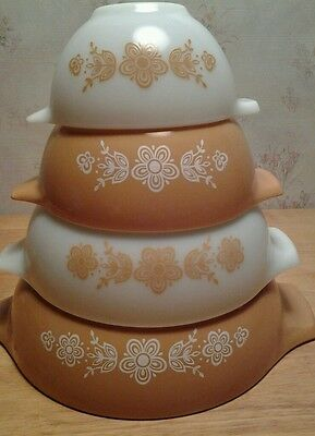 Set 4 Pyrex Cinderella GOLD BUTTERFLY Nesting Mixing Bowls 441 442 443 444