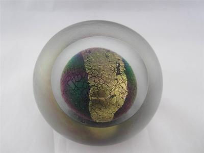 1992 Studio Art Glass Round Frosted Cased Paperweight Signed Eickholt