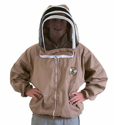 BUZZ Beekeepers BEE JACKET, Cappuccino with fencing hood . Size: SMALL