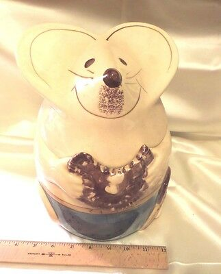 VTGE '60'S CERAMIC COOKIE JAR, IVORY MOUSE EATING CHOCOLATE COVERED DONUT