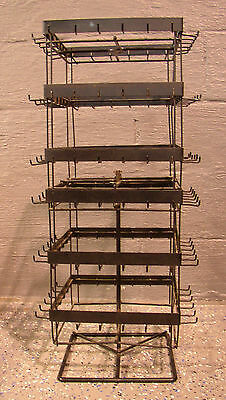 Counter Top Wire Carousel Display Rack 144 Hooks Black Good Condition w/ Cover