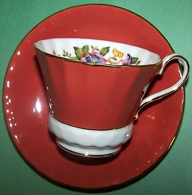 Aynsley Tea Cup & Saucer Set – Burnt Orange w/ a White Base and Floral Interior