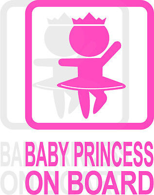 Baby Princess on Board Graphic Decal Sticker Car Vehicle