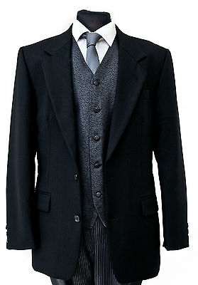 MJ-78. Black Herringbone Formal / Masonic / 2 button Lounge Jacket