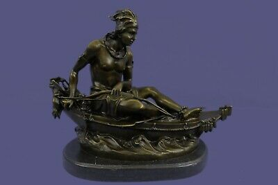 Pure Bronze Statue Sculpture Native American Indian Man in Canoe on Marble Base