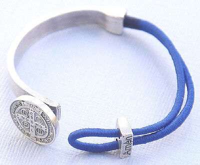 Saint Benedict Silver Plated Bracelet with Medal - Blue- NEW!