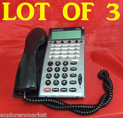 LOT SET of 3 NEC DTP-16D-1 (BK) TEL Black Dterm Series 590041 Business Phones
