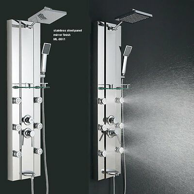 Stainless steel Rainfall Shower Panel Tower Tub Faucet Spout 6 Body Massage Jets