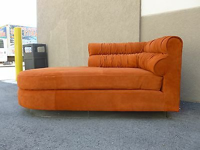 70's Italian Suede And Lucite Fainting Couch Or Chaise Manner Of Vladimir Kagan