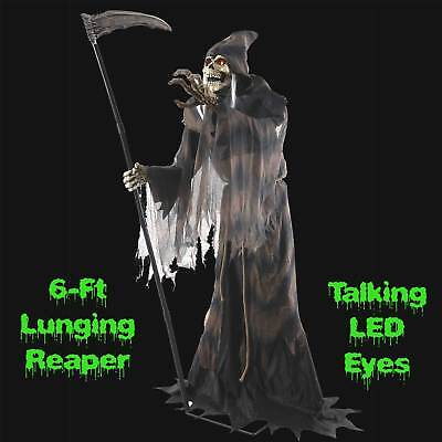 Life Size Standing Black GRIM REAPER SKELETON SYTHE Halloween Haunted House Prop