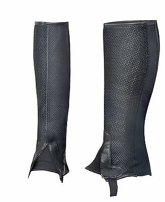 Half Chaps Genuine Breathable Leather With Mesh Back Zip - Kids - Black