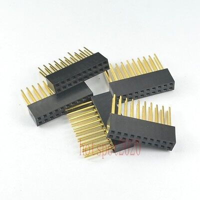 50pcs 2.54mm 2x10 20pin Double Row Female stackable Straight Header socket Strip