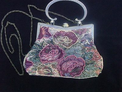 Vintage Victorian style beaded tapestry bag with brass clutch handle