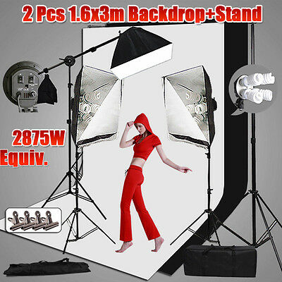 Photography Softbox Studio Continuous Lighting Boom Light Arm Backdrop Stand KiT