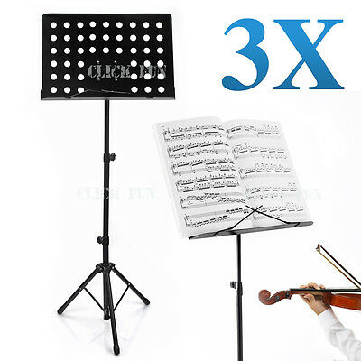 3X Professional Stage Heavy Duty Large Music Sheet Stand Adjustable Folding New
