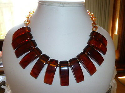 1930s-40s  Deco Rootbeer Vintage Bakelite & Celluloid Chain Bear's Claw Necklace