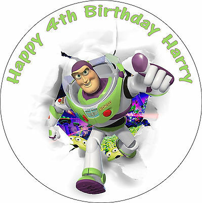 "Toy Story Buzz Lightyear Edible 8"" Round Personalised Birthday Cake Topper"