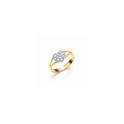 9ct Gold Baby/Childs Heart Ring set with white stones