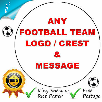 Any Football Club Logo Personalised Edible Printed Celebration Cake Topper