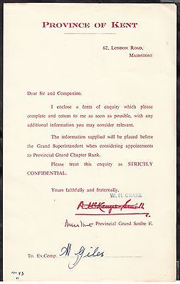 Masonic - Province of Kent - letter of enquiry C. 1960s