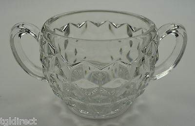 """Vintage Fostoria American Clear Pattern Open Sugar 3.5"""" Tall Collectible Crystal"""