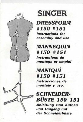 Singer Model #150 #151 Dressform Instructions and Use Manual on cd in pdf format