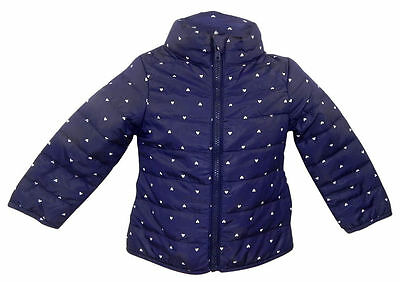 H & M navy lightly padded jacket with small heart print.